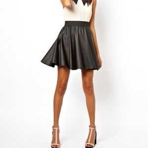 Asos Club L Leather skater black skirt  NWT